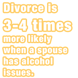 Divorce is three to four more times more likely when a spouse has alcohol issues.